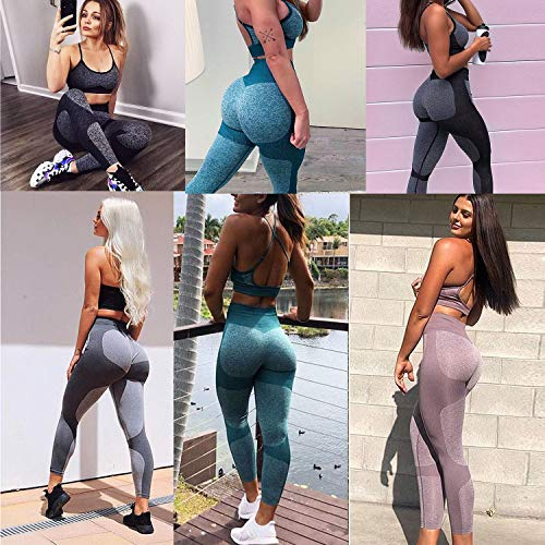 Women's Seamless High Waisted Gym Leggings Unique Design Power Stretch Yoga Pants Running Workout Leggings 8