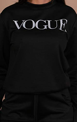 Womens Vogue Print 2 Piece Loungewear Boxy Tracksuit Ladies Top and Jogger Set Size S/M-XXL 3
