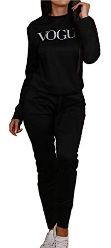 Womens Vogue Print 2 Piece Loungewear Boxy Tracksuit Ladies Top and Jogger Set Size S/M-XXL 1
