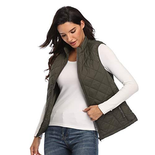 Women's Gilet Jacket Stand Collar Lightweight Quilted Zip Vest Bodywarmer Outdoor Gilet 4