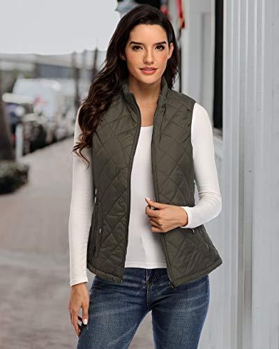 Women's Gilet Jacket Stand Collar Lightweight Quilted Zip Vest Bodywarmer Outdoor Gilet 6