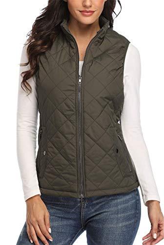 Women's Gilet Jacket Stand Collar Lightweight Quilted Zip Vest Bodywarmer Outdoor Gilet 8