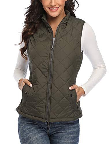 Women's Gilet Jacket Stand Collar Lightweight Quilted Zip Vest Bodywarmer Outdoor Gilet 1