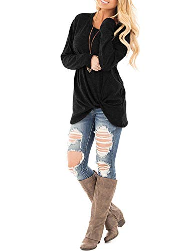 Xpenyo Women's Long Sleeve Tops Twisted Sweatshirt Loose T Shirt Blouses Tunic Tops 3
