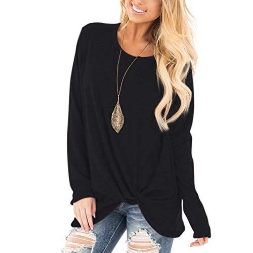Xpenyo Women's Long Sleeve Tops Twisted Sweatshirt Loose T Shirt Blouses Tunic Tops 1