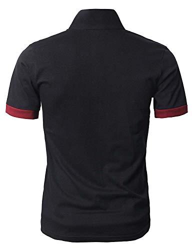 GHYUGR Men's Short Sleeve Polo Shirts Giraffe Contrasting Colors Golf Tennis T-Shirt 1