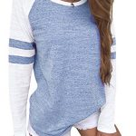YOINS Women Long Sleeve Tshirts Ladies Jumpers Baseball Tops Round Neck Striped Pullover 13