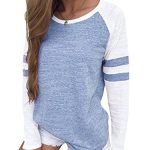 YOINS Women Long Sleeve Tshirts Ladies Jumpers Baseball Tops Round Neck Striped Pullover 11