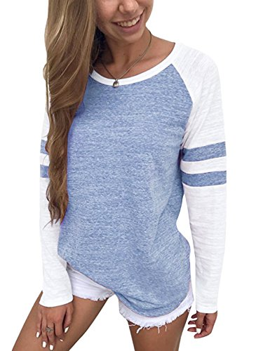 YOINS Women Long Sleeve Tshirts Ladies Jumpers Baseball Tops Round Neck Striped Pullover 1