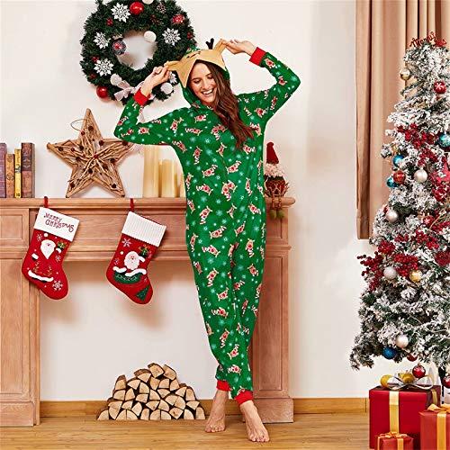 Yaffi Family Matching Pyjamas Christmas Festival Onesie One Piece Xmas Deer Snowman Printed Hooded Jumpsuit Sleepwear… 3