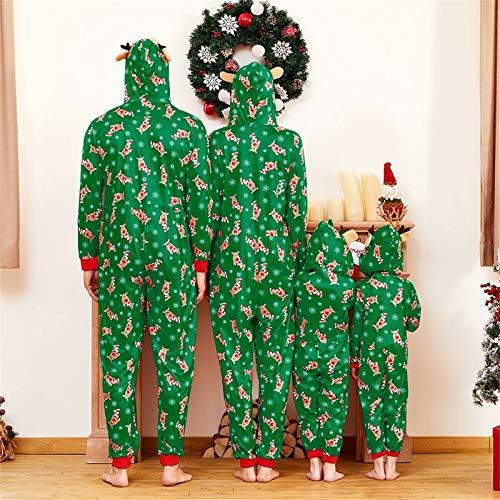 Yaffi Family Matching Pyjamas Christmas Festival Onesie One Piece Xmas Deer Snowman Printed Hooded Jumpsuit Sleepwear… 4