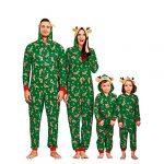 Yaffi Family Matching Pyjamas Christmas Festival Onesie One Piece Xmas Deer Snowman Printed Hooded Jumpsuit Sleepwear… 15
