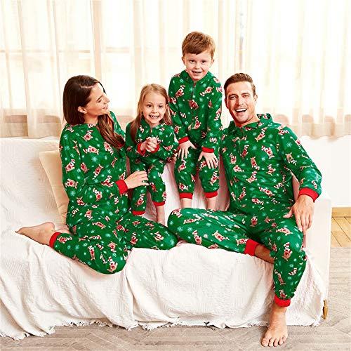 Yaffi Family Matching Pyjamas Christmas Festival Onesie One Piece Xmas Deer Snowman Printed Hooded Jumpsuit Sleepwear… 5