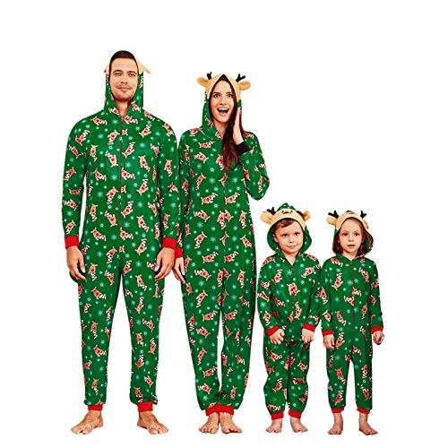 Yaffi Family Matching Pyjamas Christmas Festival Onesie One Piece Xmas Deer Snowman Printed Hooded Jumpsuit Sleepwear… 1