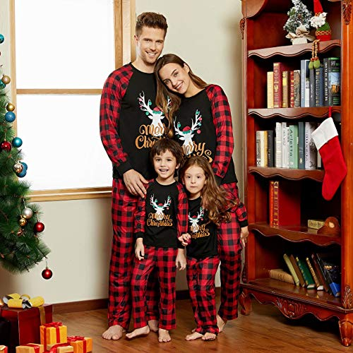 Yaffi Family Matching Pyjamas Set Festival Two Pieces Outfits Merry Christmas Elk Printed Top with Plaid Pants… 3
