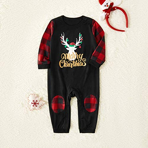Yaffi Family Matching Pyjamas Set Festival Two Pieces Outfits Merry Christmas Elk Printed Top with Plaid Pants… 5