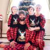 Yaffi Family Matching Pyjamas Set Festival Two Pieces Outfits Merry Christmas Elk Printed Top with Plaid Pants… 15