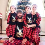 Yaffi Family Matching Pyjamas Set Festival Two Pieces Outfits Merry Christmas Elk Printed Top with Plaid Pants… 23