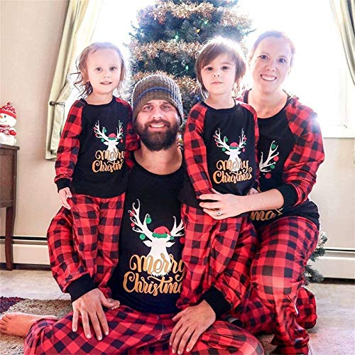 Yaffi Family Matching Pyjamas Set Festival Two Pieces Outfits Merry Christmas Elk Printed Top with Plaid Pants… 6