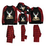Yaffi Family Matching Pyjamas Set Festival Two Pieces Outfits Merry Christmas Elk Printed Top with Plaid Pants… 24