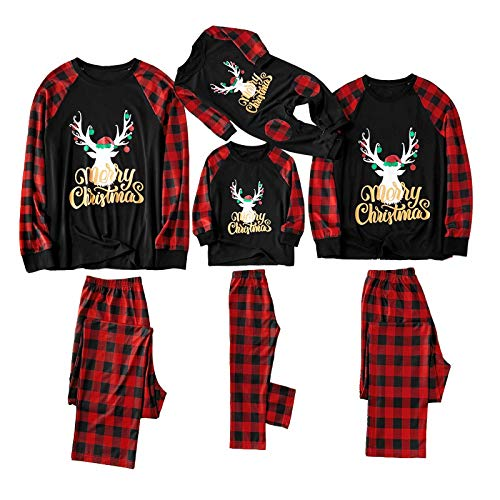 Yaffi Family Matching Pyjamas Set Festival Two Pieces Outfits Merry Christmas Elk Printed Top with Plaid Pants… 7