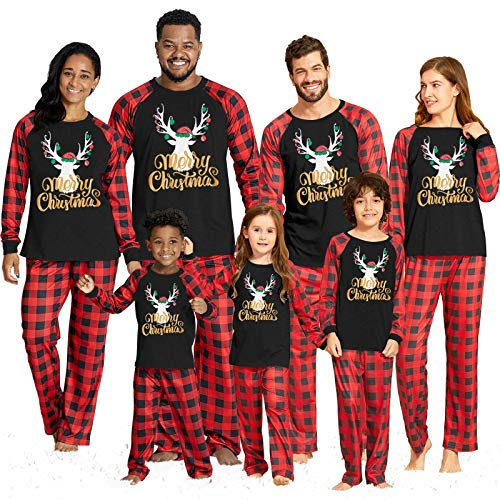 Yaffi Family Matching Pyjamas Set Festival Two Pieces Outfits Merry Christmas Elk Printed Top with Plaid Pants… 1