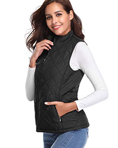fuinloth Women's Quilted Gilet, Stand Collar Lightweight Zip Padded Vest 3