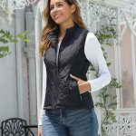 fuinloth Women's Quilted Gilet, Stand Collar Lightweight Zip Padded Vest 18