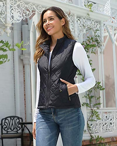 fuinloth Women's Quilted Gilet, Stand Collar Lightweight Zip Padded Vest 5