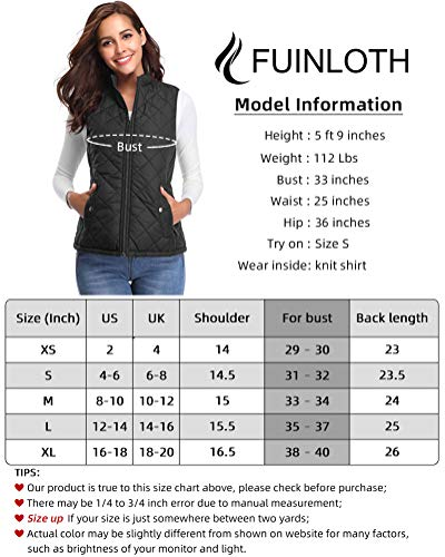 fuinloth Women's Quilted Gilet, Stand Collar Lightweight Zip Padded Vest 6