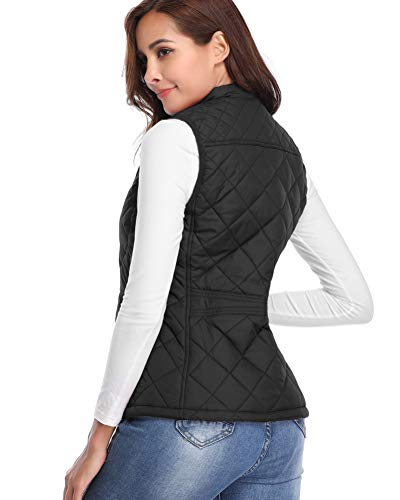 fuinloth Women's Quilted Gilet, Stand Collar Lightweight Zip Padded Vest 7