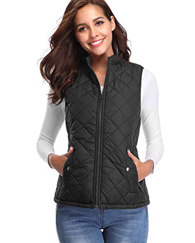 fuinloth Women's Quilted Gilet, Stand Collar Lightweight Zip Padded Vest 1