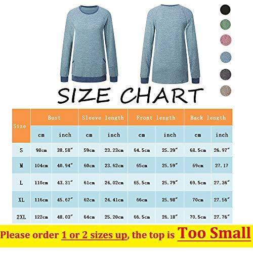 iChunhua Casual Women's Long Sleeve Crewneck T Shirt Sweatshirt Tops with Pockets S-XXL 3