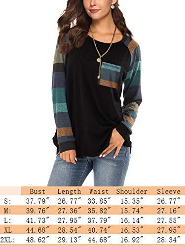 iChunhua Womens Casual Color Block Raglan Long Sleeve T-Shirt Blouses Tunic Tops 3