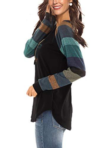 iChunhua Womens Casual Color Block Raglan Long Sleeve T-Shirt Blouses Tunic Tops 4