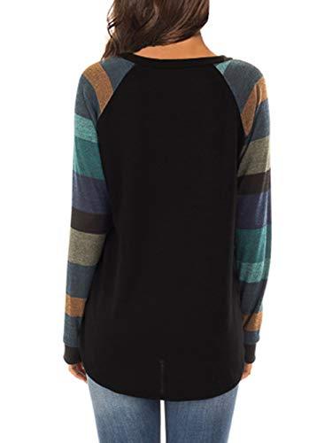 iChunhua Womens Casual Color Block Raglan Long Sleeve T-Shirt Blouses Tunic Tops 5