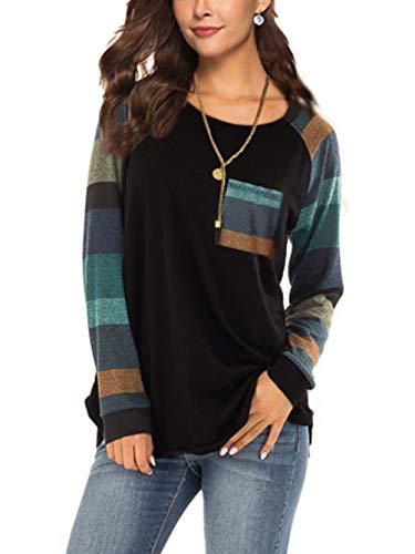 iChunhua Womens Casual Color Block Raglan Long Sleeve T-Shirt Blouses Tunic Tops 1