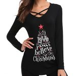 iClosam Women Christmas Tops,Women Sexy Criss Cross V Neck T Shirts Letter Long Sleeve Valentines Day Tunic Tops 21