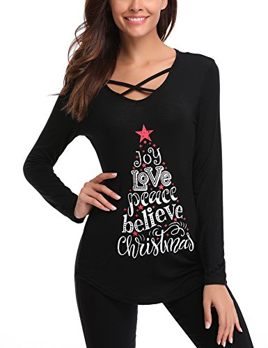 iClosam Women Christmas Tops,Women Sexy Criss Cross V Neck T Shirts Letter Long Sleeve Valentines Day Tunic Tops 6