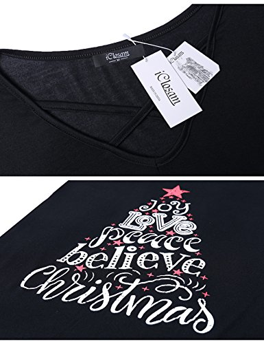 iClosam Women Christmas Tops,Women Sexy Criss Cross V Neck T Shirts Letter Long Sleeve Valentines Day Tunic Tops 7