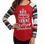 iClosam Women Christmas Tops,Women Sexy Criss Cross V Neck T Shirts Letter Long Sleeve Valentines Day Tunic Tops 25