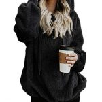 iWoo Teddy Fleece Sweatshirts Womens Casual Double Fuzzy Fluffy Hoodie Solid Color Warm Stylish 1/4 Zip Pullover with… 27