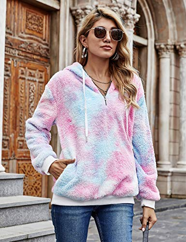 iWoo Teddy Fleece Sweatshirts Womens Casual Double Fuzzy Fluffy Hoodie Solid Color Warm Stylish 1/4 Zip Pullover with… 3