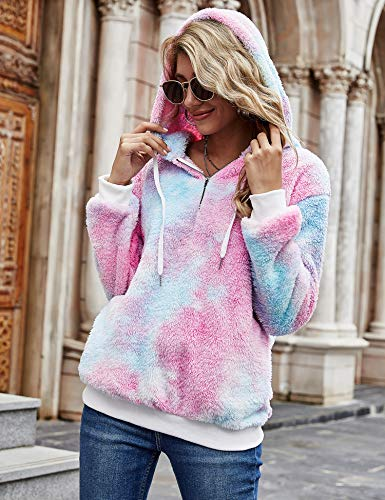 iWoo Teddy Fleece Sweatshirts Womens Casual Double Fuzzy Fluffy Hoodie Solid Color Warm Stylish 1/4 Zip Pullover with… 4