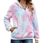 iWoo Teddy Fleece Sweatshirts Womens Casual Double Fuzzy Fluffy Hoodie Solid Color Warm Stylish 1/4 Zip Pullover with… 17