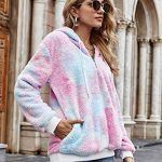 iWoo Teddy Fleece Sweatshirts Womens Casual Double Fuzzy Fluffy Hoodie Solid Color Warm Stylish 1/4 Zip Pullover with… 21