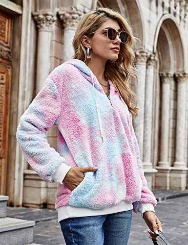 iWoo Teddy Fleece Sweatshirts Womens Casual Double Fuzzy Fluffy Hoodie Solid Color Warm Stylish 1/4 Zip Pullover with… 6