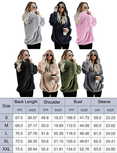 iWoo Teddy Fleece Sweatshirts Womens Casual Double Fuzzy Fluffy Hoodie Solid Color Warm Stylish 1/4 Zip Pullover with… 8