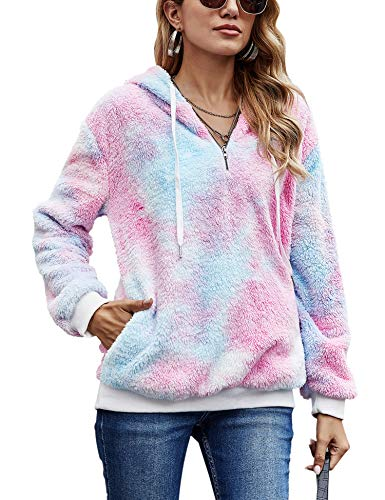 iWoo Teddy Fleece Sweatshirts Womens Casual Double Fuzzy Fluffy Hoodie Solid Color Warm Stylish 1/4 Zip Pullover with… 1