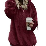 iWoo Teddy Fleece Sweatshirts Womens Casual Double Fuzzy Fluffy Hoodie Solid Color Warm Stylish 1/4 Zip Pullover with… 28